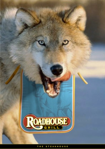 """Roadhouse Grill, campagna istituzionale, """"Carnivori"""", soggetto """"Wolf"""". Headline """"The steakhouse"""". CW Beatrice Furlotti, AD Diego Mendozza, CD Bruno Bertelli."""