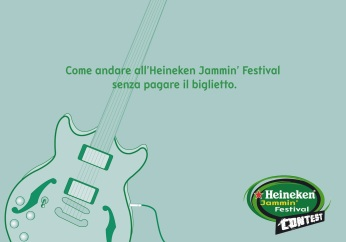 "Heineken Jammin' Festival Contest, campagna promocard, ""Palco"", soggetto ""Chitarra"". Headline ""How going to the Heineken Jammin' Festival without paying the ticket"". CW Beatrice Furlotti, AD Hugo Gallardo, CD Bruno Bertelli."