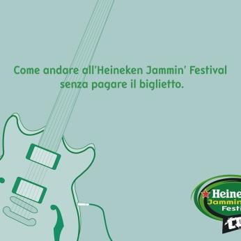 "Heineken Jammin' Festival Contest, campagna promocard, ""Palco"", soggetto ""Chitarra"". Headline ""How going to the Heineken Jammin' Festival without paying the ticket"". CW Beatrice Furlotti, AD Hugo Gallardo, CD Bruno Bertelli."