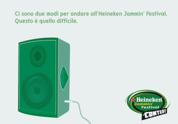 "Heineken Jammin' Festival Contest, campagna promocard, ""Palco"", soggetto ""Cassa"". Headline ""You have two ways to go to the Heineken Jammin' Festival. This is the hardest one"". CW Beatrice Furlotti, AD Hugo Gallardo, CD Bruno Bertelli."