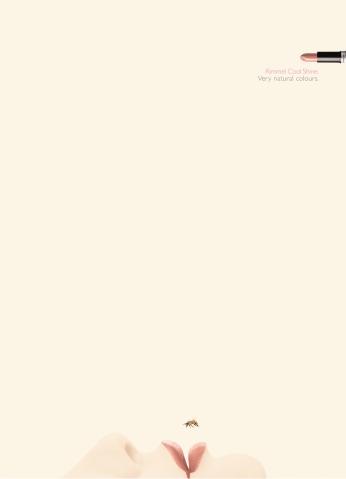 "Rimmel, ""Bee"". Headline ""Very natural colours"". CW Beatrice Furlotti, AD Pinky Mascetti, CD Bruno Bertelli, PH Silvia Badalotti. Shortlist Eurobest 2007, shortlist The New York Festivals 2008, shortlist ADCI Awards 2008."